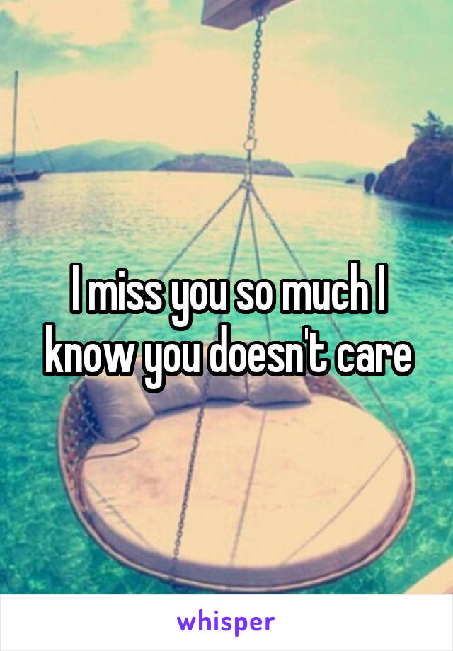 I miss you so much I know you doesn't care