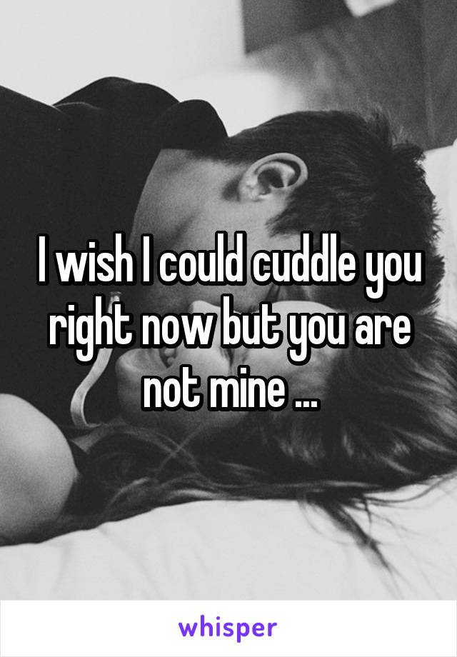 I wish I could cuddle you right now but you are not mine ...