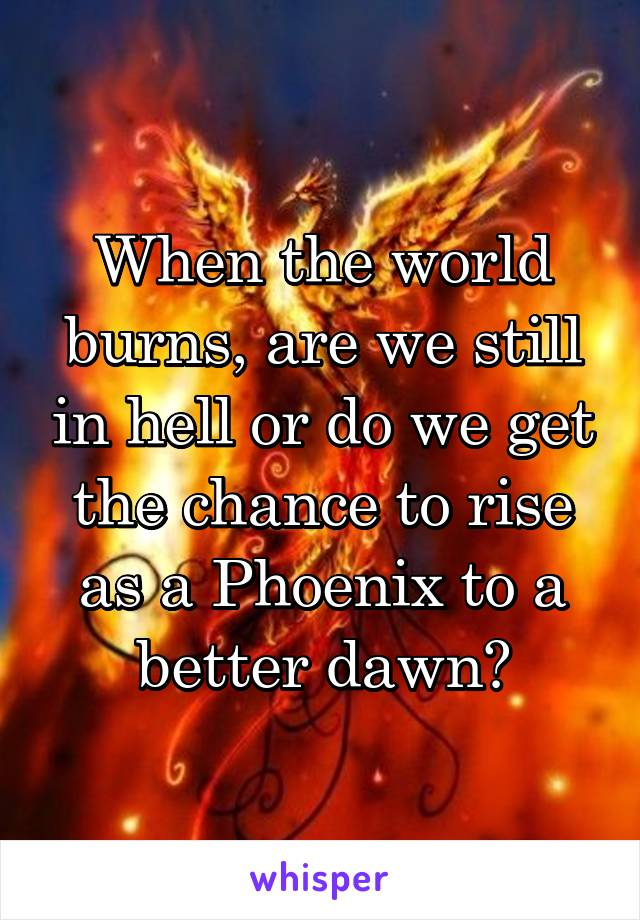 When the world burns, are we still in hell or do we get the chance to rise as a Phoenix to a better dawn?