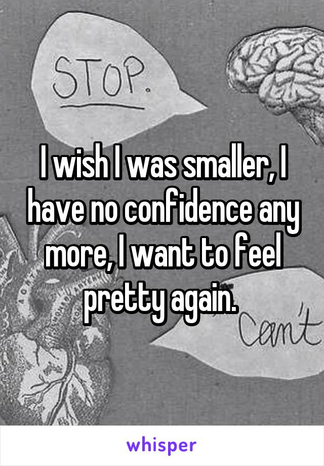 I wish I was smaller, I have no confidence any more, I want to feel pretty again.