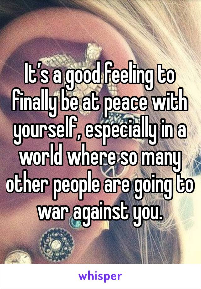 It's a good feeling to finally be at peace with yourself, especially in a world where so many other people are going to war against you.