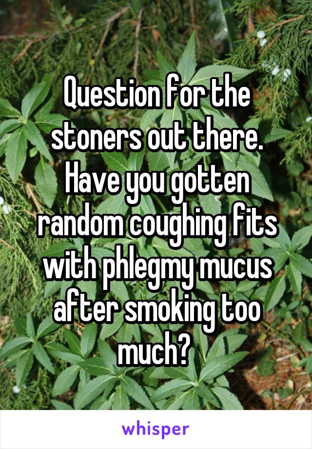 Question for the stoners out there. Have you gotten random coughing fits with phlegmy mucus after smoking too much?