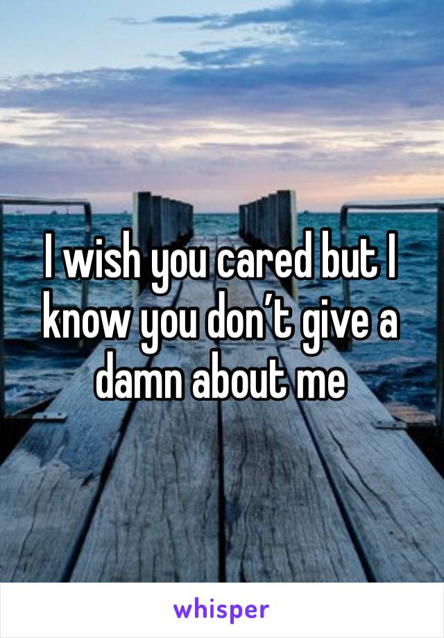 I wish you cared but I know you don't give a damn about me