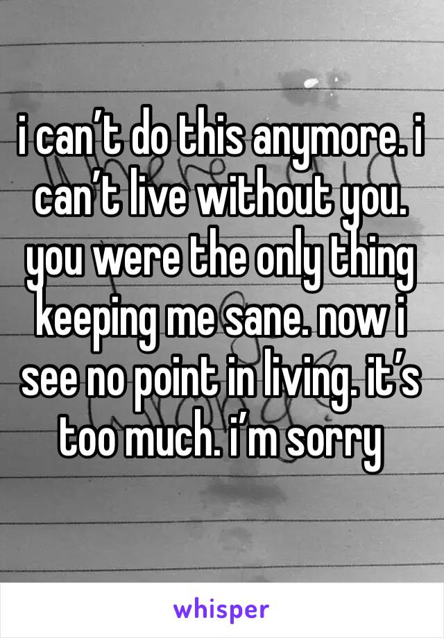 i can't do this anymore. i can't live without you. you were the only thing keeping me sane. now i see no point in living. it's too much. i'm sorry