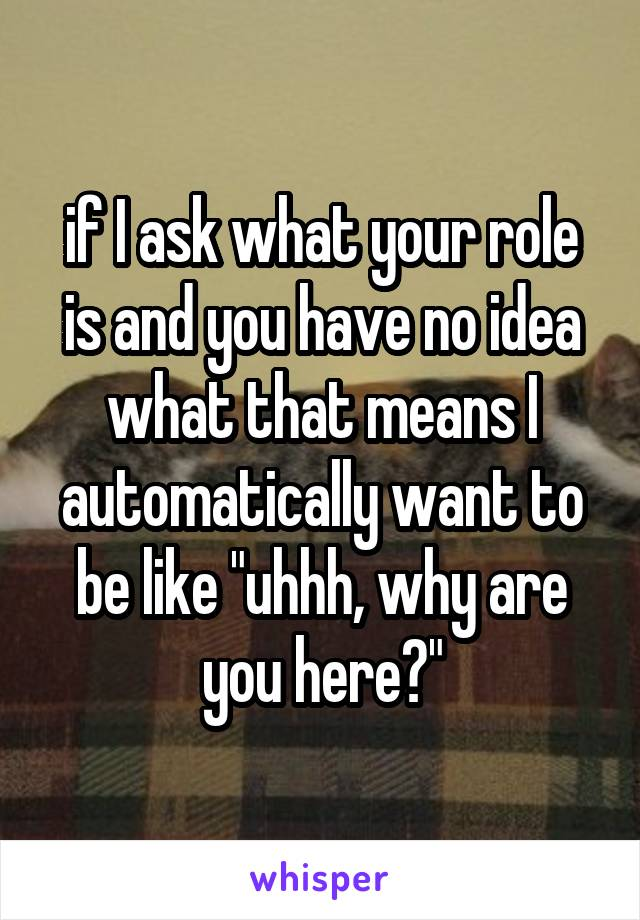 """if I ask what your role is and you have no idea what that means I automatically want to be like """"uhhh, why are you here?"""""""