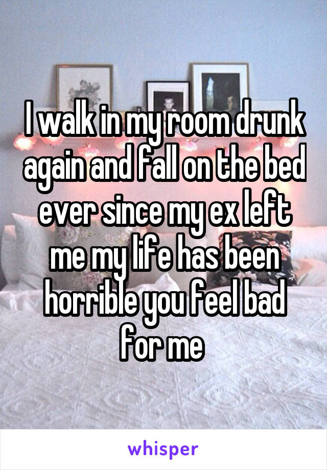 I walk in my room drunk again and fall on the bed ever since my ex left me my life has been horrible you feel bad for me