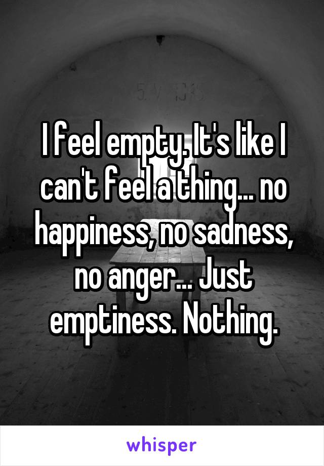 I feel empty. It's like I can't feel a thing... no happiness, no sadness, no anger... Just emptiness. Nothing.