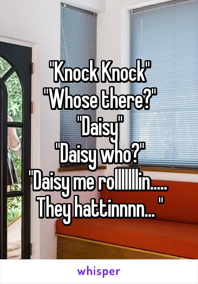 """""""Knock Knock"""" """"Whose there?"""" """"Daisy"""" """"Daisy who?"""" """"Daisy me rolllllllin.....  They hattinnnn... """""""