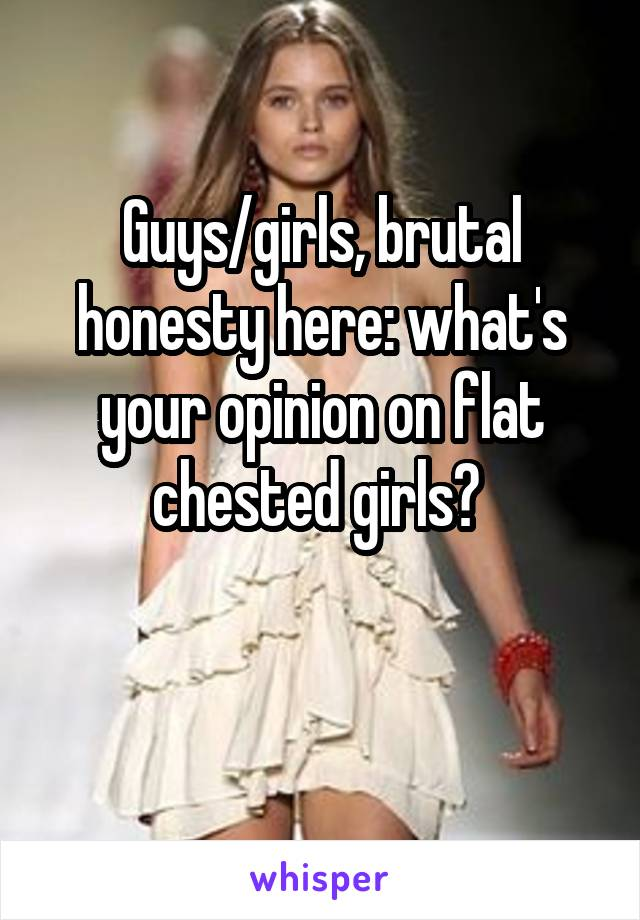 Guys/girls, brutal honesty here: what's your opinion on flat chested girls?
