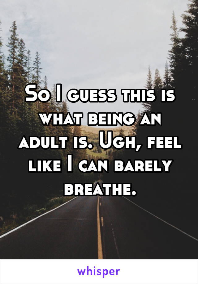 So I guess this is what being an adult is. Ugh, feel like I can barely breathe.