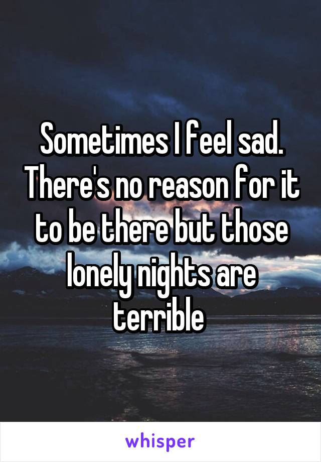 Sometimes I feel sad. There's no reason for it to be there but those lonely nights are terrible