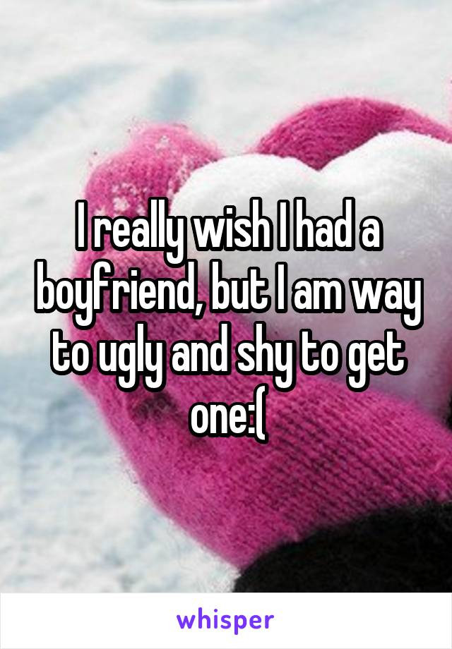 I really wish I had a boyfriend, but I am way to ugly and shy to get one:(