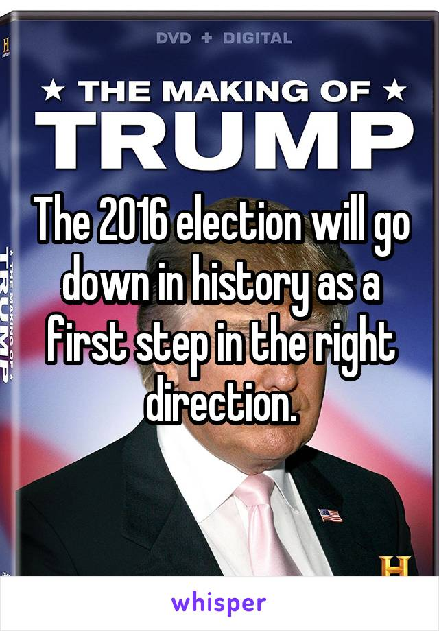 The 2016 election will go down in history as a first step in the right direction.
