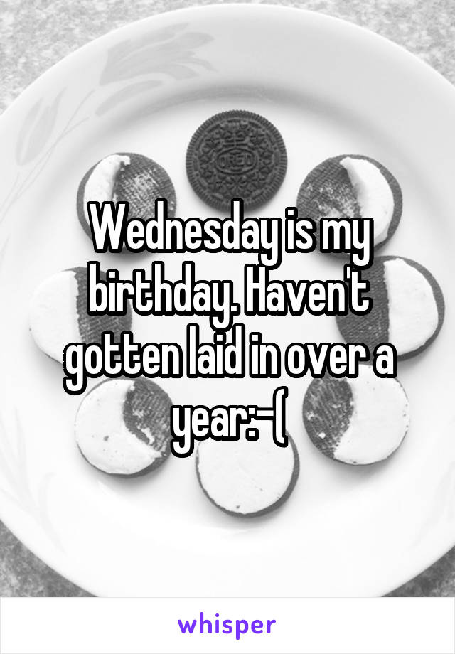 Wednesday is my birthday. Haven't gotten laid in over a year:-(