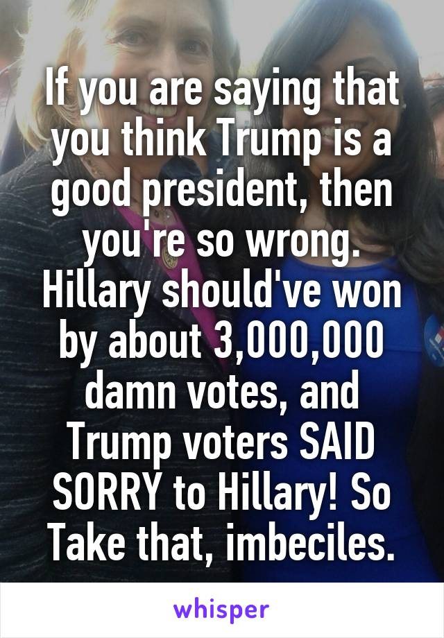 If you are saying that you think Trump is a good president, then you're so wrong. Hillary should've won by about 3,000,000 damn votes, and Trump voters SAID SORRY to Hillary! So Take that, imbeciles.
