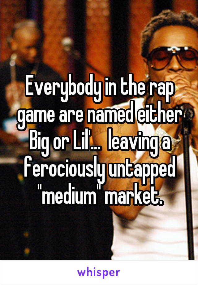 """Everybody in the rap game are named either Big or Lil'...  leaving a ferociously untapped """"medium"""" market."""