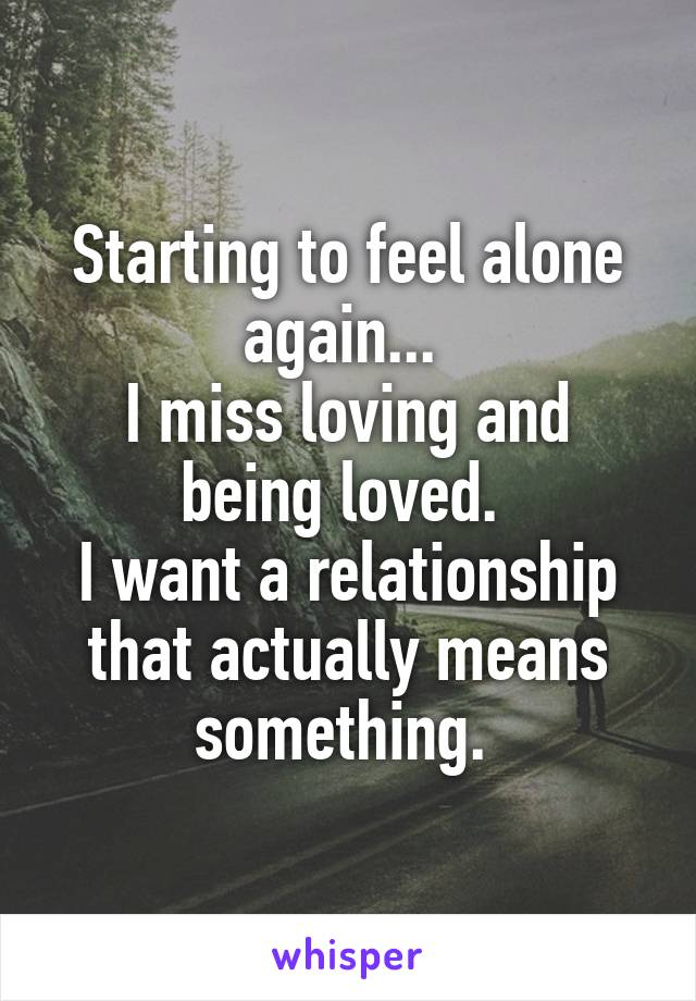 Starting to feel alone again...  I miss loving and being loved.  I want a relationship that actually means something.