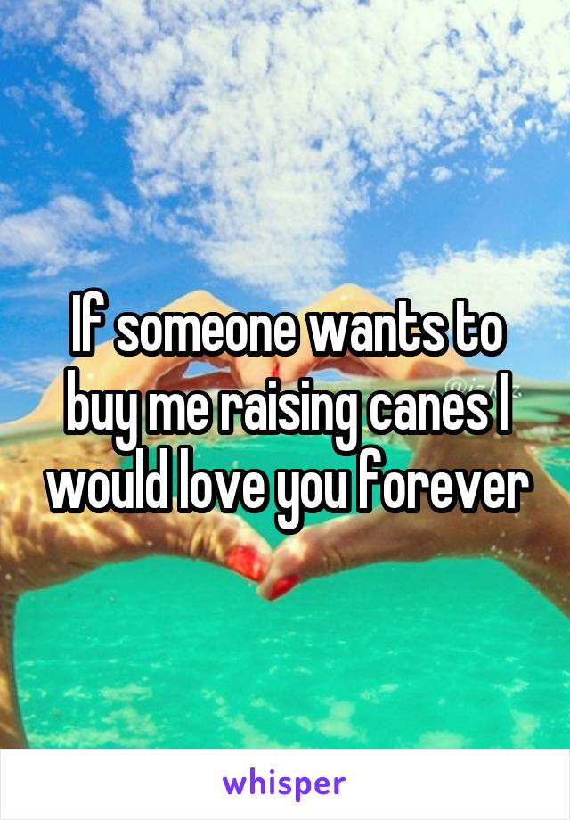 If someone wants to buy me raising canes I would love you forever