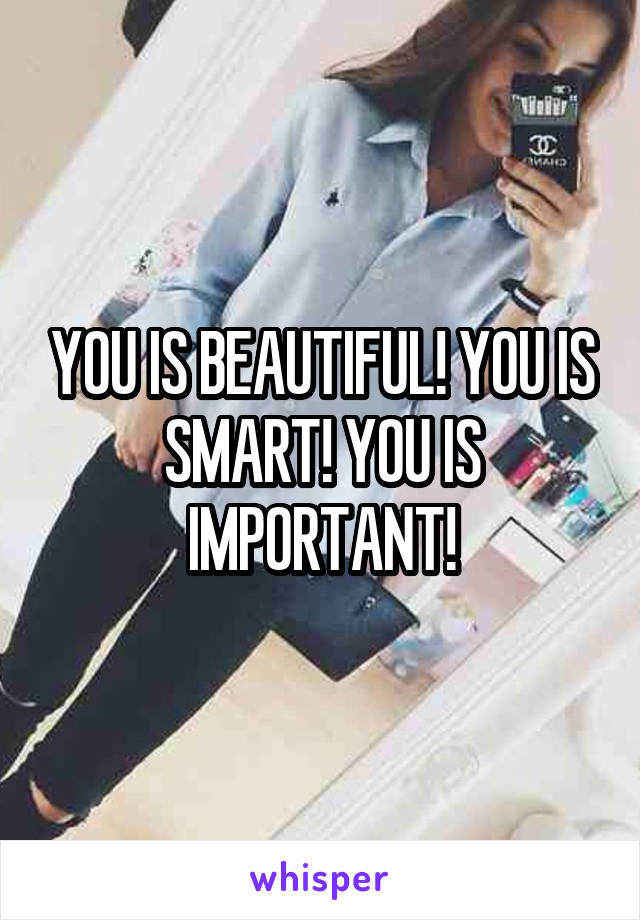 YOU IS BEAUTIFUL! YOU IS SMART! YOU IS IMPORTANT!
