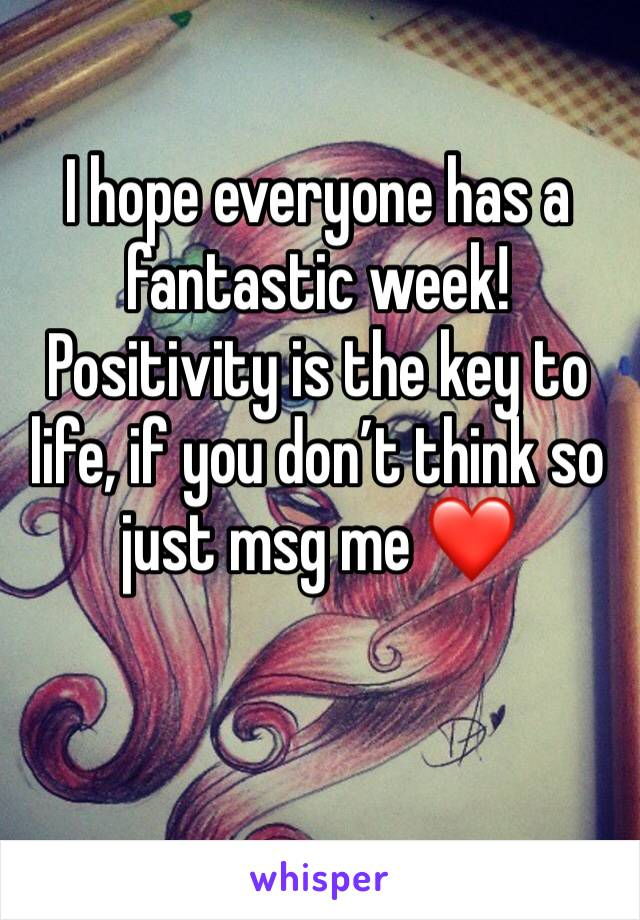 I hope everyone has a fantastic week! Positivity is the key to life, if you don't think so just msg me ❤️