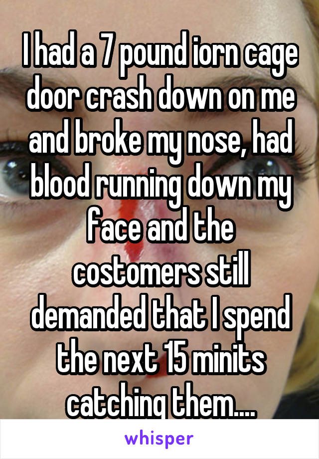 I had a 7 pound iorn cage door crash down on me and broke my nose, had blood running down my face and the costomers still demanded that I spend the next 15 minits catching them....