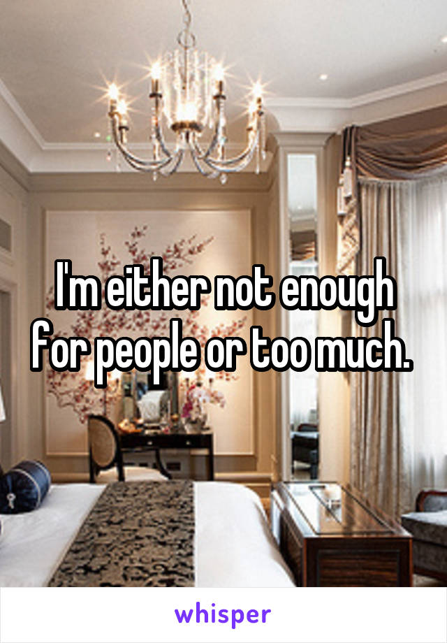 I'm either not enough for people or too much.