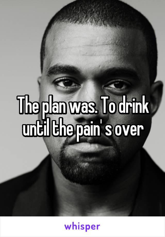 The plan was. To drink until the pain' s over