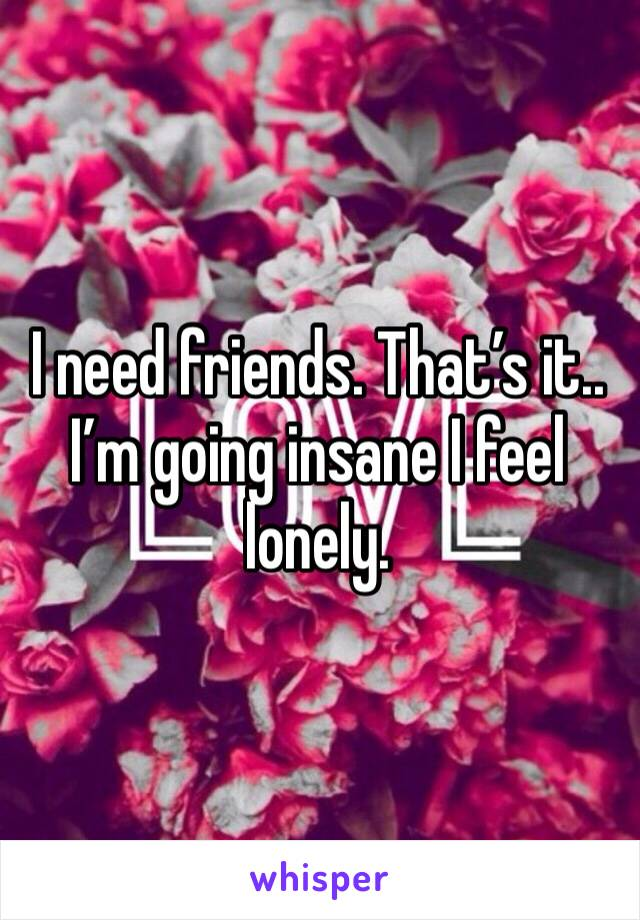 I need friends. That's it.. I'm going insane I feel lonely.