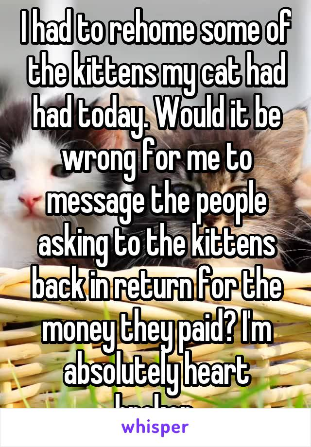 I had to rehome some of the kittens my cat had had today. Would it be wrong for me to message the people asking to the kittens back in return for the money they paid? I'm absolutely heart broken.