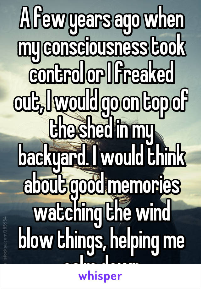 A few years ago when my consciousness took control or I freaked out, I would go on top of the shed in my backyard. I would think about good memories watching the wind blow things, helping me calm down
