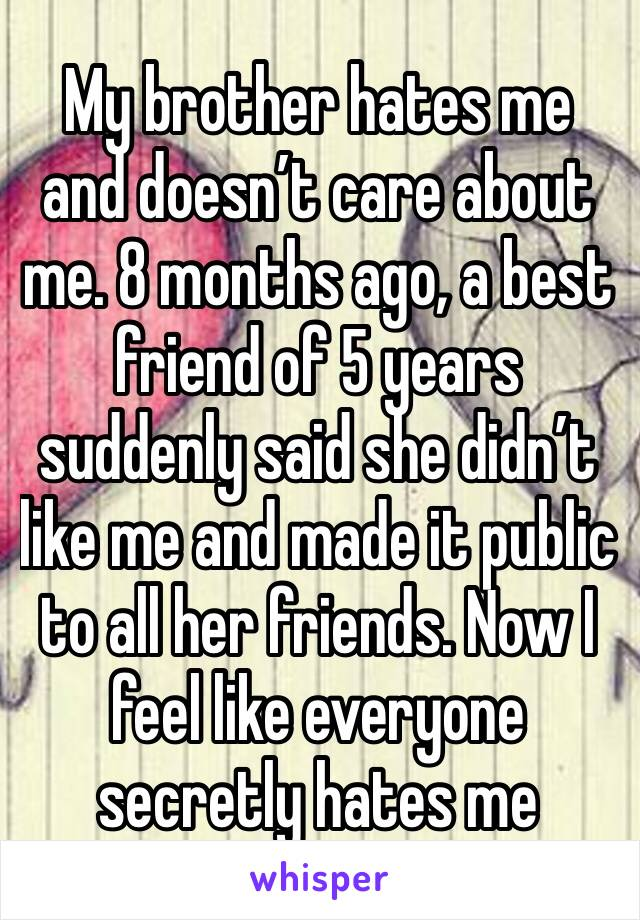 My brother hates me and doesn't care about me. 8 months ago, a best friend of 5 years suddenly said she didn't like me and made it public to all her friends. Now I feel like everyone secretly hates me