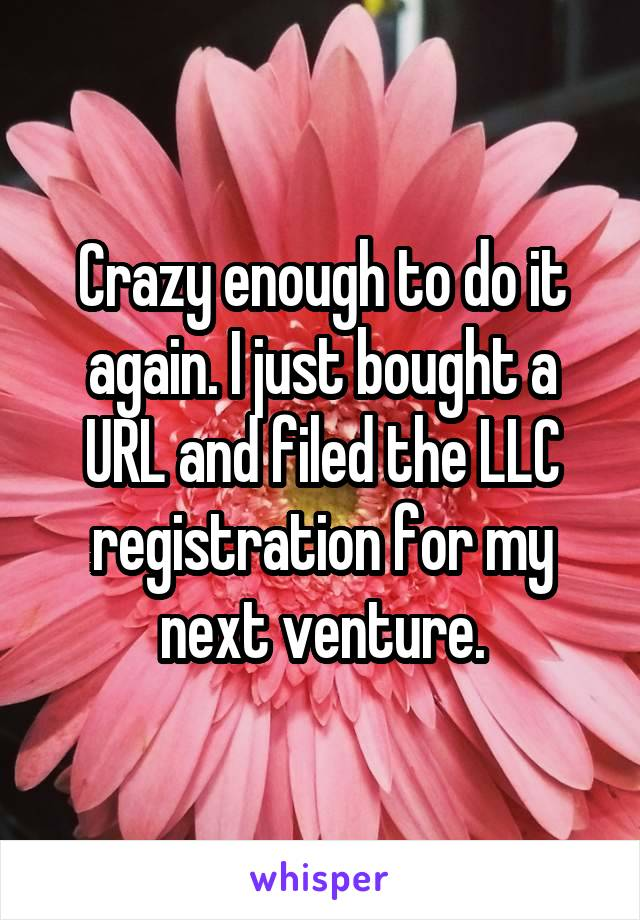 Crazy enough to do it again. I just bought a URL and filed the LLC registration for my next venture.