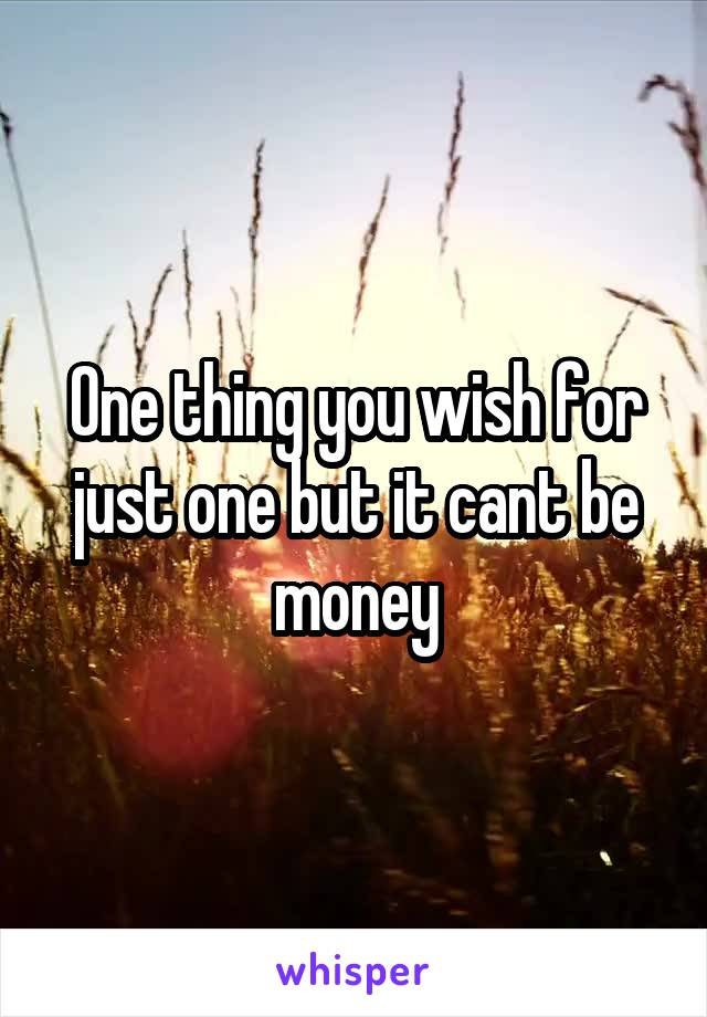 One thing you wish for just one but it cant be money