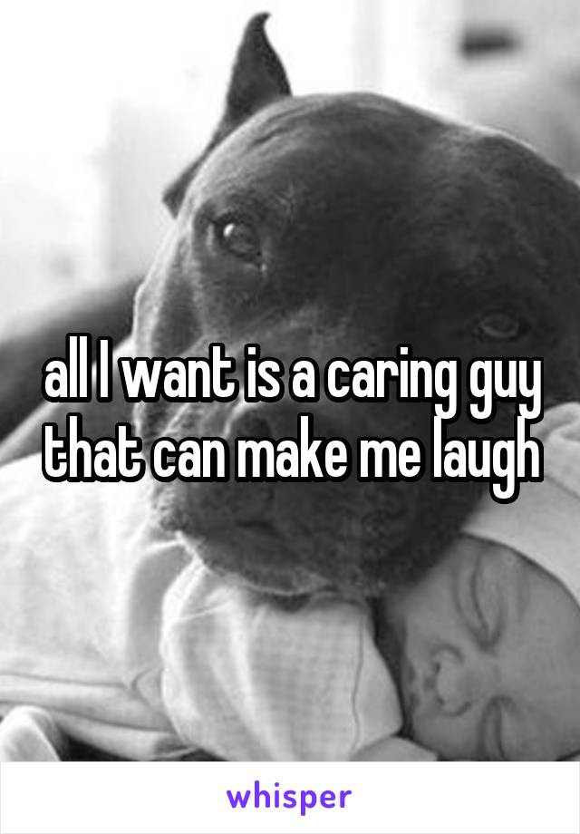 all I want is a caring guy that can make me laugh
