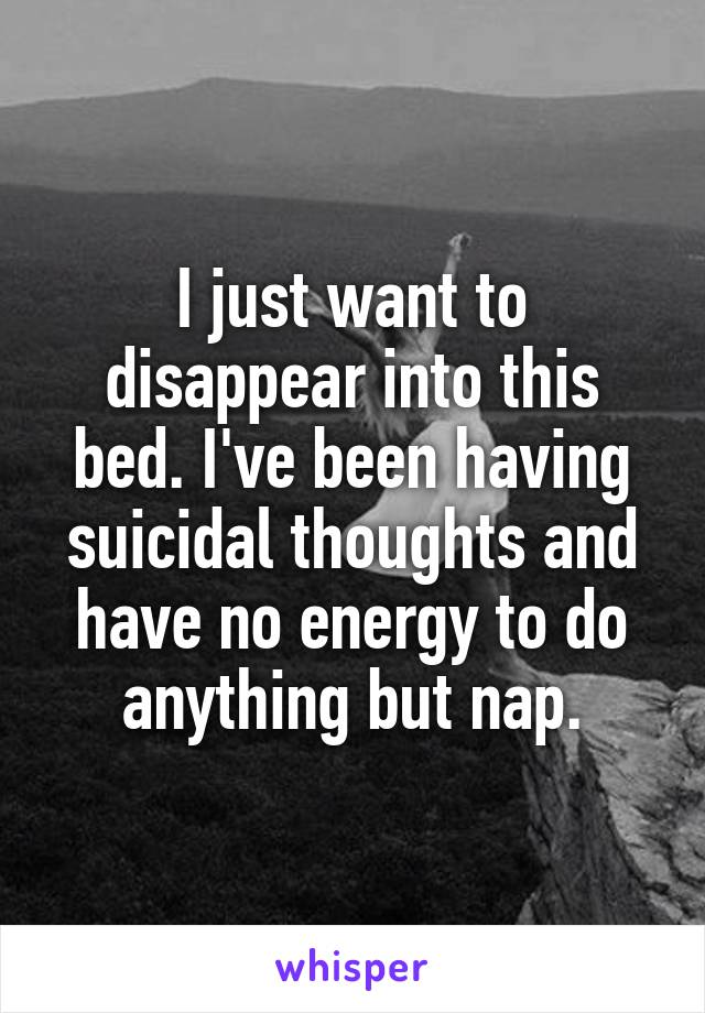 I just want to disappear into this bed. I've been having suicidal thoughts and have no energy to do anything but nap.