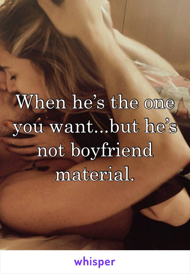When he's the one you want...but he's not boyfriend material.