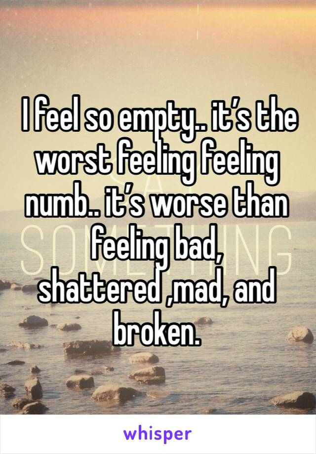 I feel so empty.. it's the worst feeling feeling numb.. it's worse than feeling bad, shattered ,mad, and broken.
