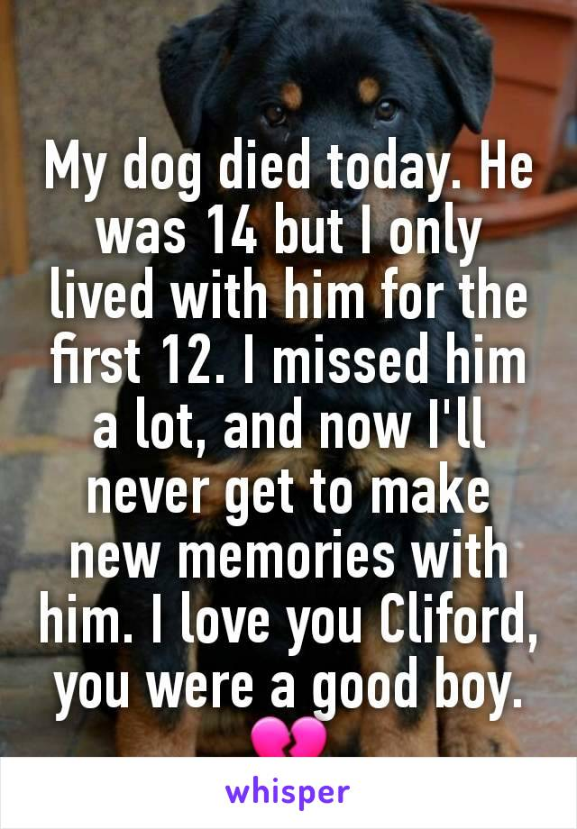 My dog died today. He was 14 but I only lived with him for the first 12. I missed him a lot, and now I'll never get to make new memories with him. I love you Cliford, you were a good boy. 💔