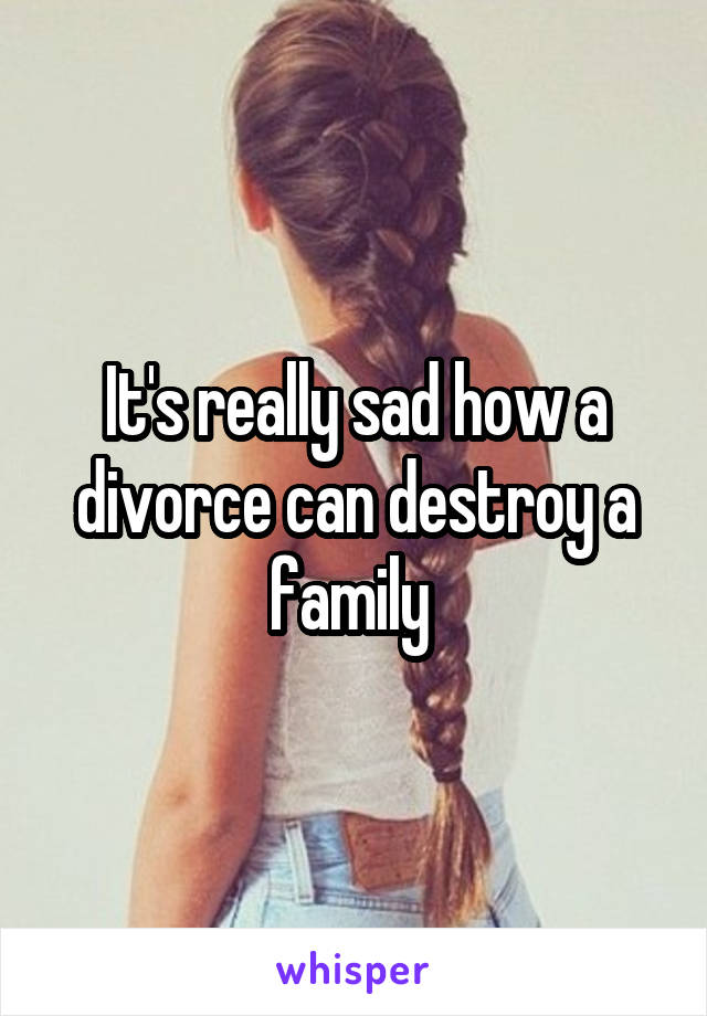It's really sad how a divorce can destroy a family