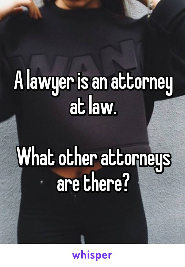 A lawyer is an attorney at law.  What other attorneys are there?