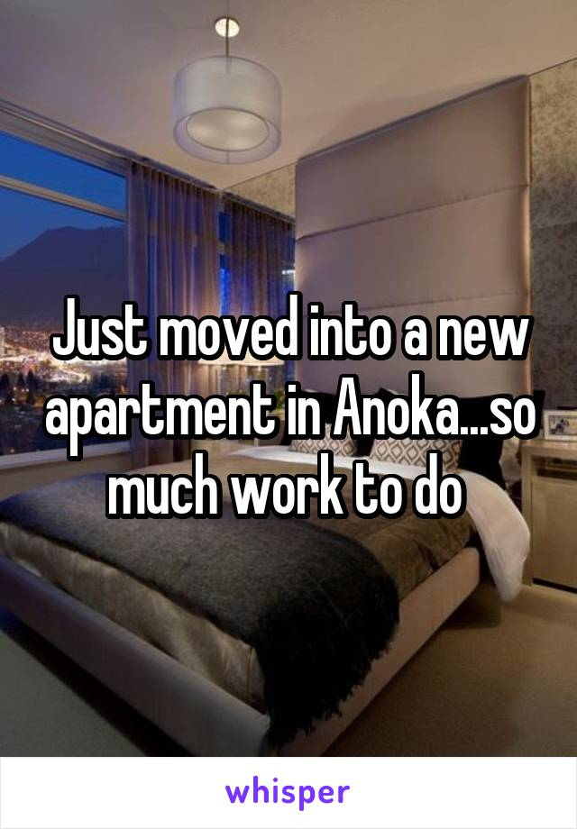 Just moved into a new apartment in Anoka...so much work to do