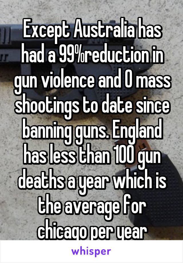 Except Australia has had a 99%reduction in gun violence and 0 mass shootings to date since banning guns. England has less than 100 gun deaths a year which is the average for chicago per year