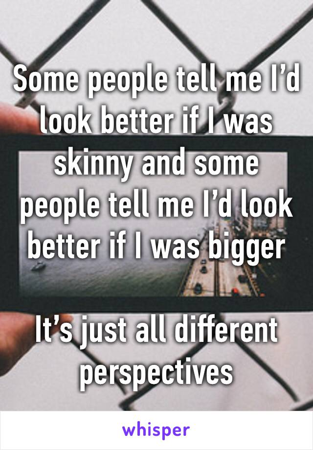 Some people tell me I'd look better if I was skinny and some people tell me I'd look better if I was bigger   It's just all different perspectives