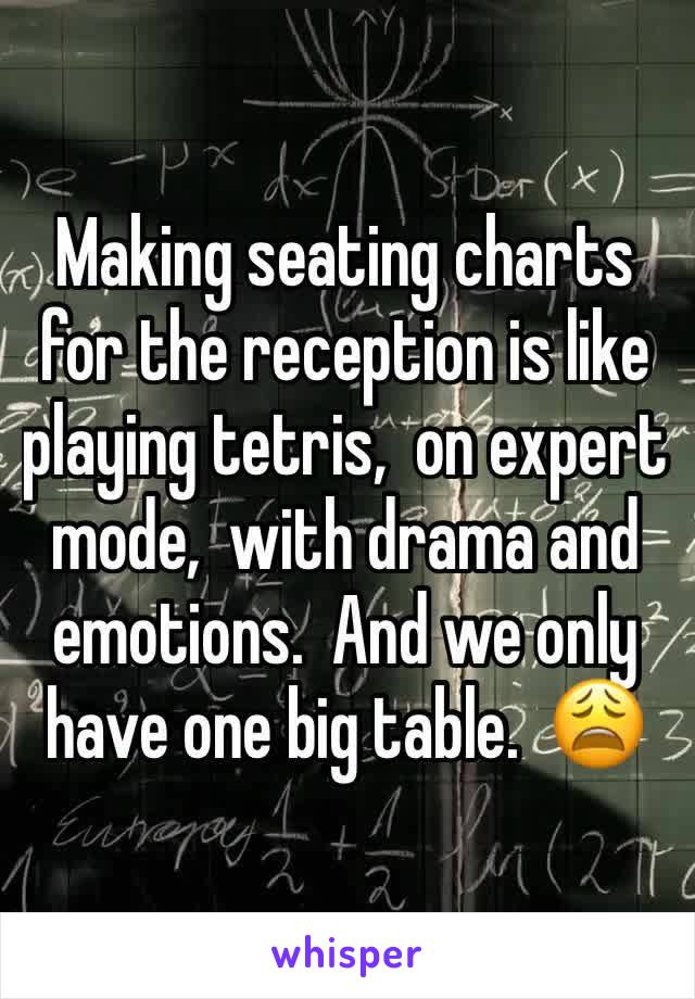 Making seating charts for the reception is like playing tetris,  on expert mode,  with drama and emotions.  And we only have one big table.  😩