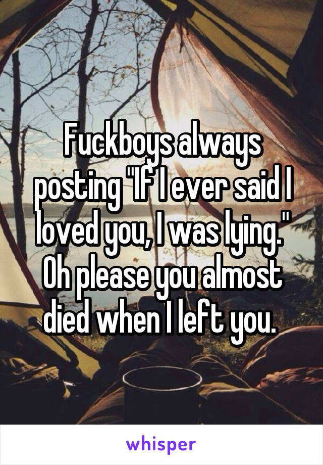 """Fuckboys always posting """"If I ever said I loved you, I was lying."""" Oh please you almost died when I left you."""