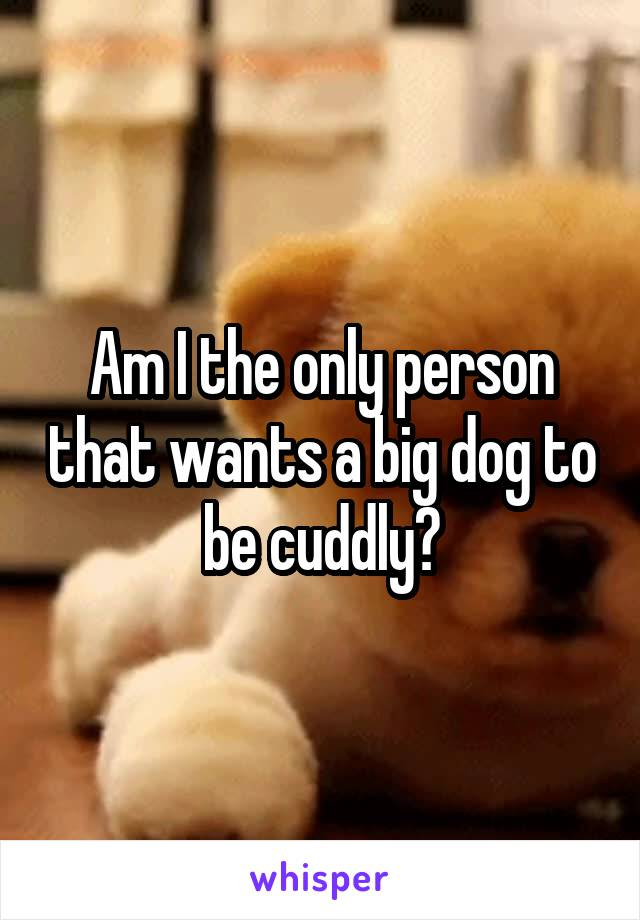 Am I the only person that wants a big dog to be cuddly?