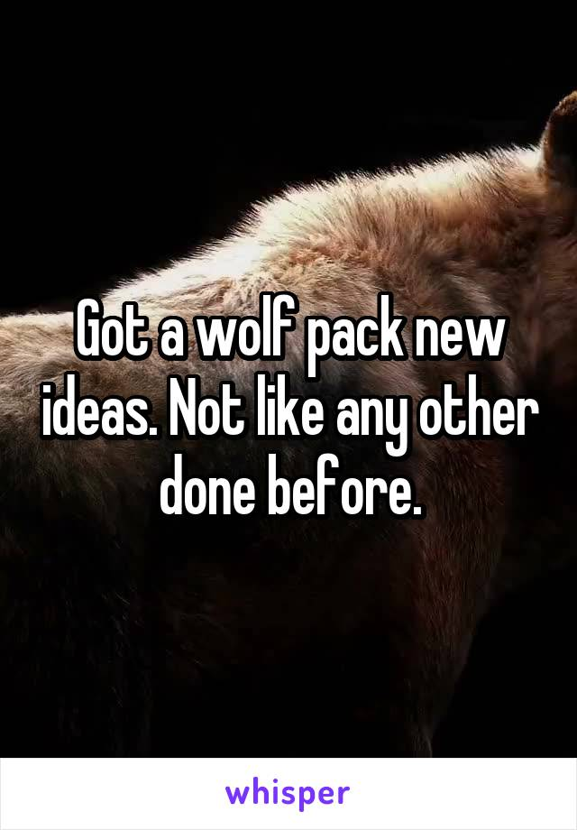 Got a wolf pack new ideas. Not like any other done before.