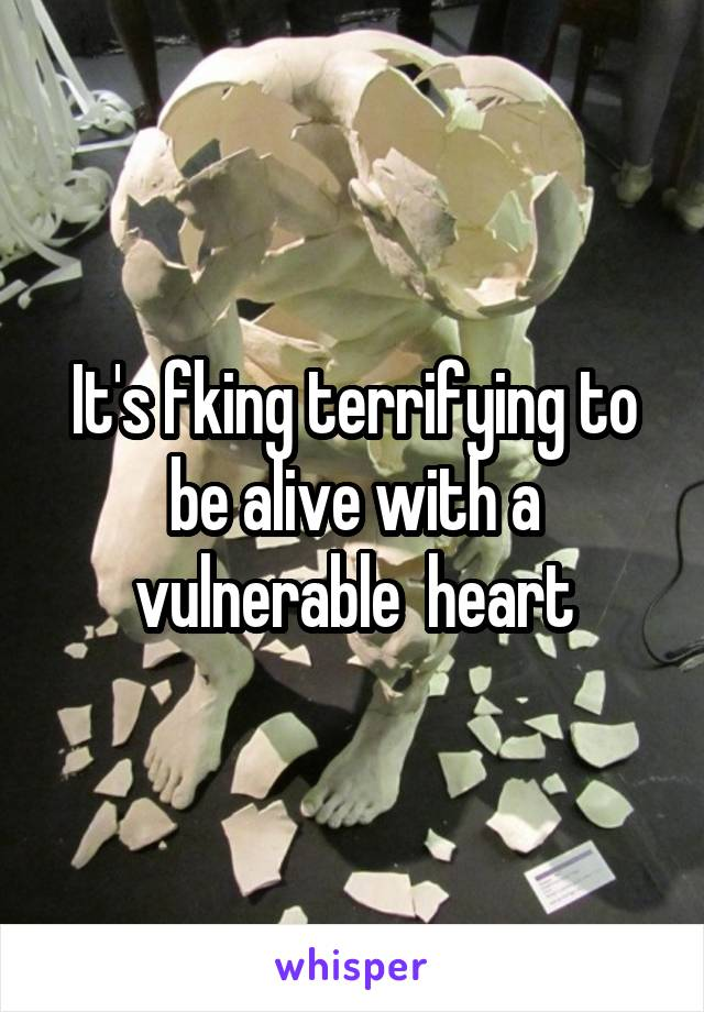 It's fking terrifying to be alive with a vulnerable  heart