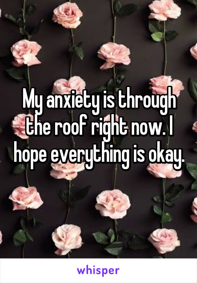 My anxiety is through the roof right now. I hope everything is okay.