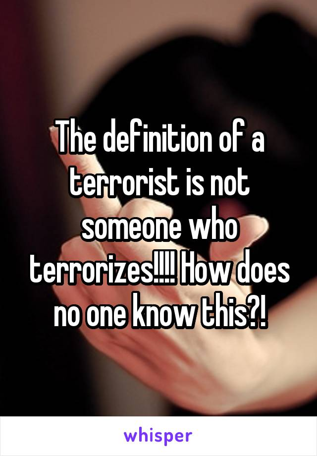 The definition of a terrorist is not someone who terrorizes!!!! How does no one know this?!